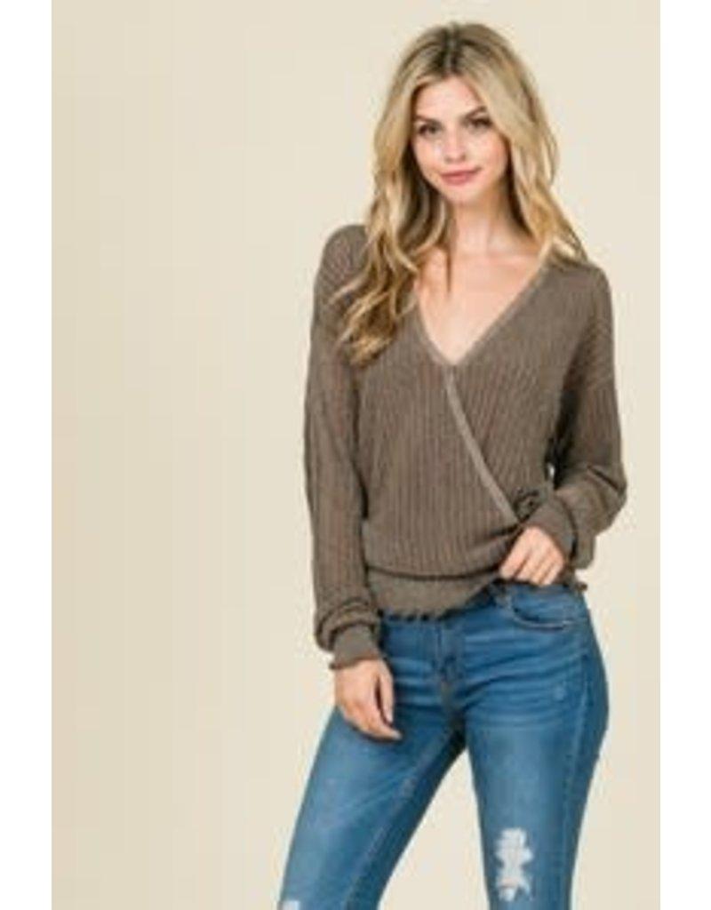 Metallc Silver Crossover Sweater