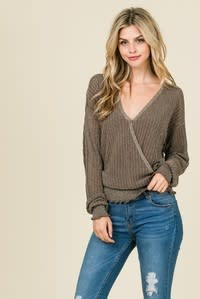 Lumiere Metallc Silver Crossover Sweater