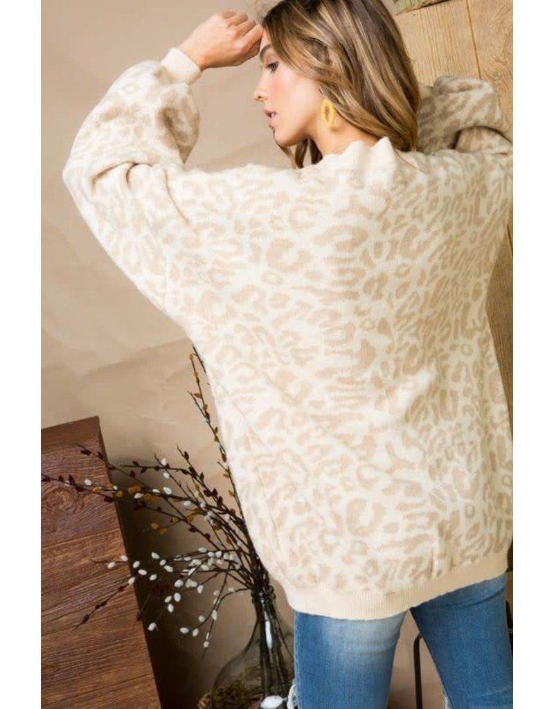 Ribbed Trim Leopard Print Sweater