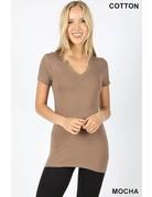 Basic Fitted V-Neck Short Sleeve