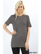 Basic Loose Fitted Crew Neck Short Sleeve