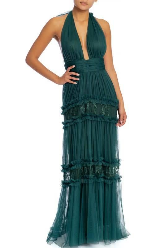 Mesh Lace Halter Maxi Dress