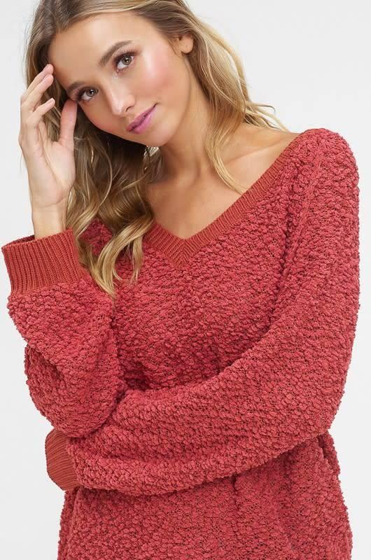 V-Neck Popcorn Pullover Sweater