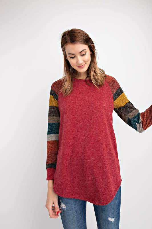 Multi Striped Sleeved Top With Solid Body