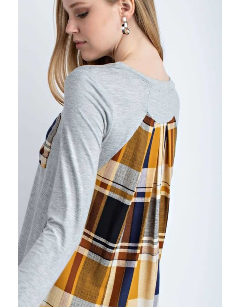 Long Sleeve Top With Plaid Back