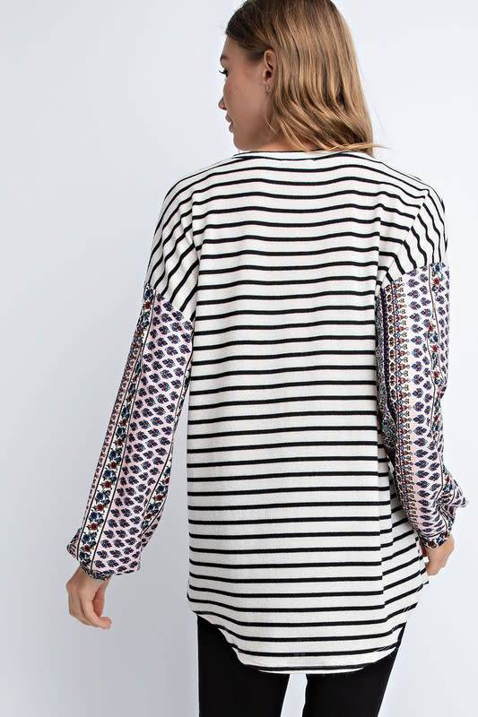 Striped Top With Printed Bubble Sleeves