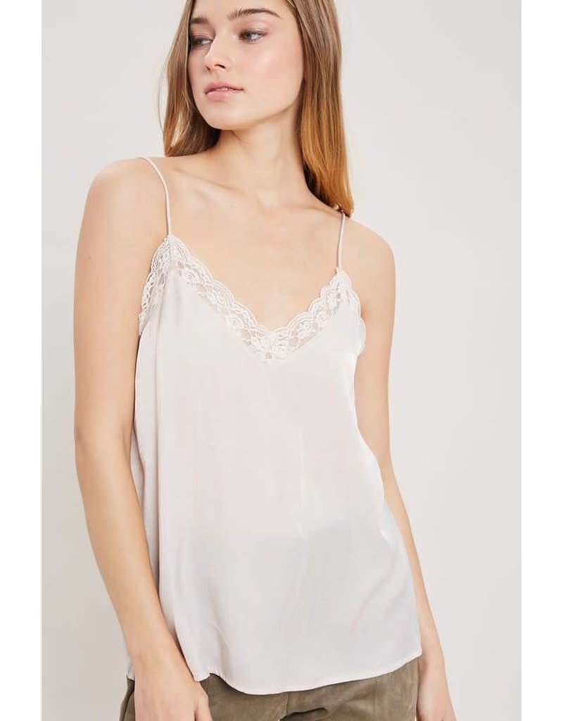 Lace Trimmed Silk Cami