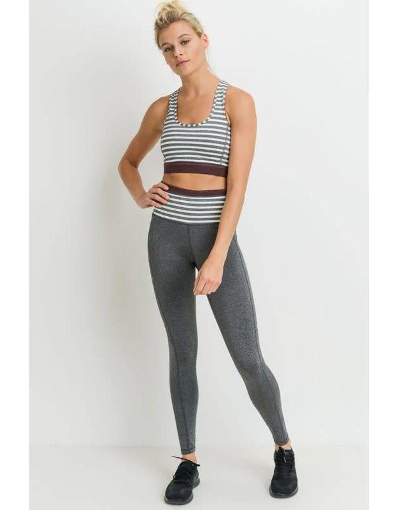 Highwaist Heather Grey Stripes Full Leggings