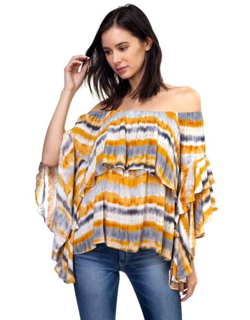 Off the Shoulder Cascade Sleeve Top