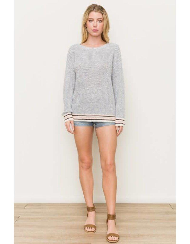 2-Tone Knit Striped Hem Sweater