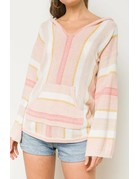 Multi Color Striped V Neck Hoodie Sweater