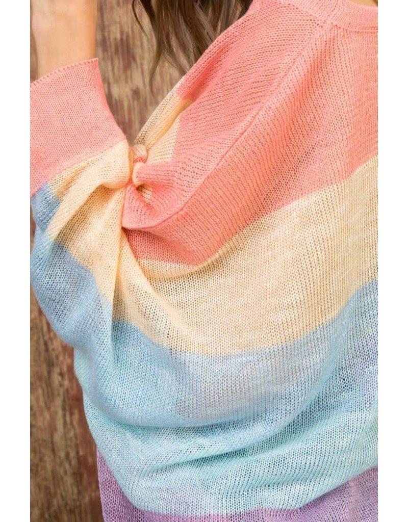 3/4 Sleeve MultiI Stripe Knit Sweater