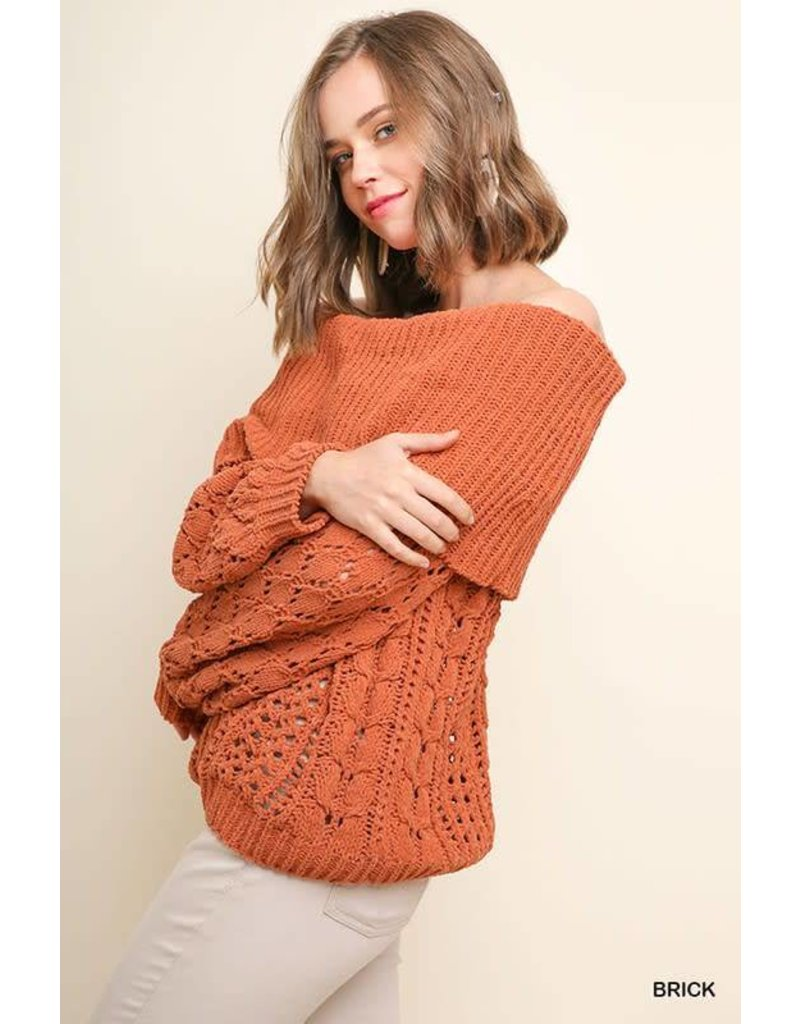 Ribbed Chenille Knit Off Shoulder Sweater