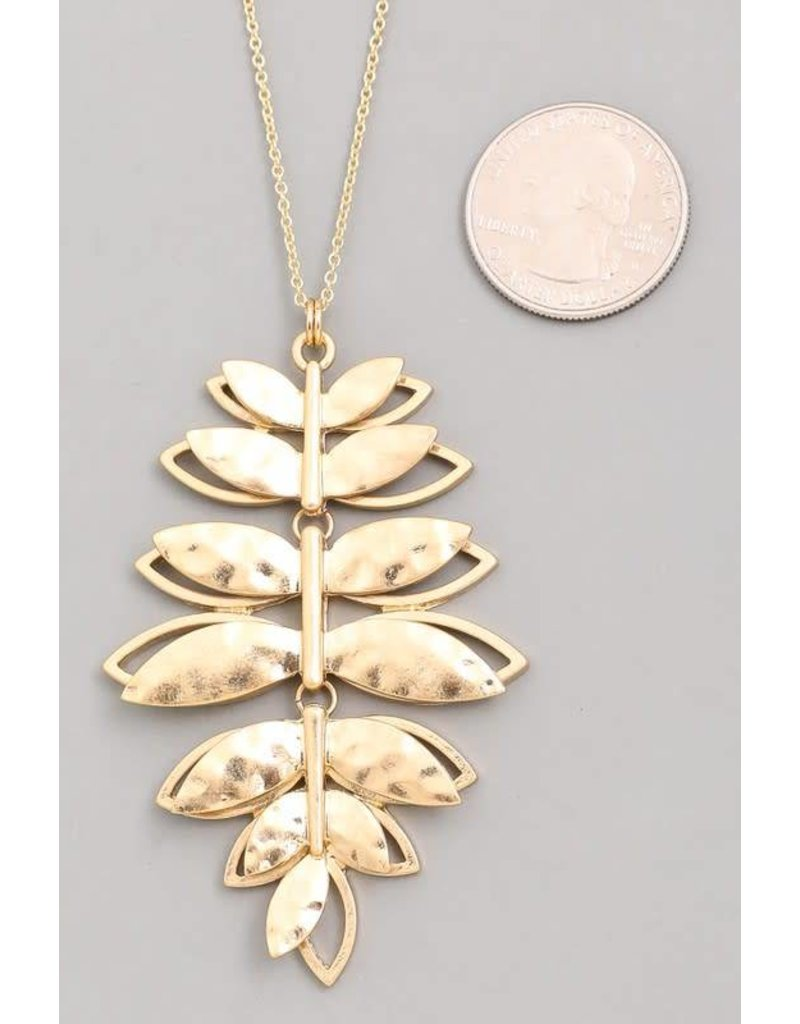 Hammered Metal Leaves Pendant Necklace