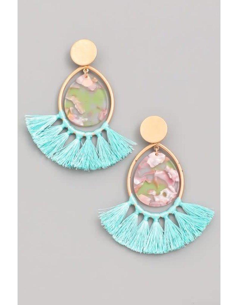 Acetate Oval Tassel Fan Earrings