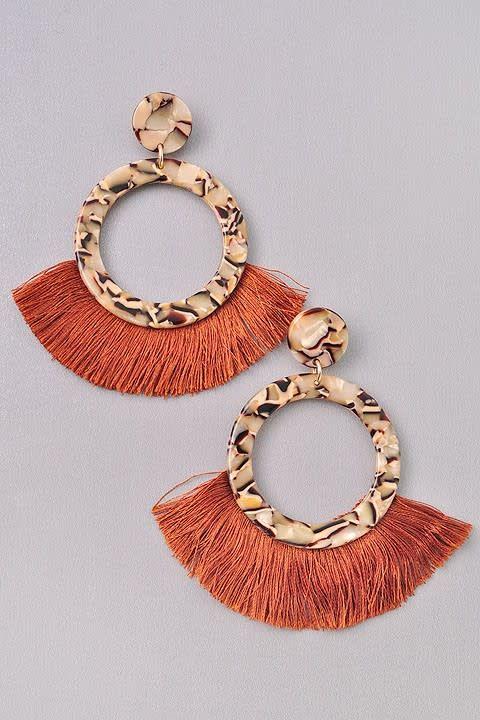 Tortoise Earrings w/ Fringe Detail