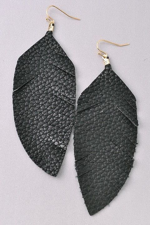 Long Cutout  Feather Earring