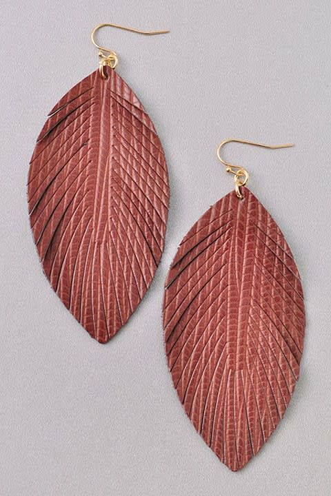 Textured Cutout Feather Earring
