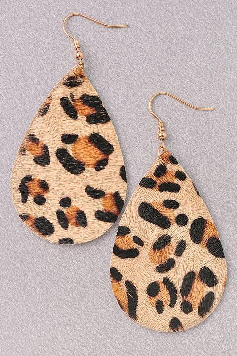 Animal Print Tear Drop Earring