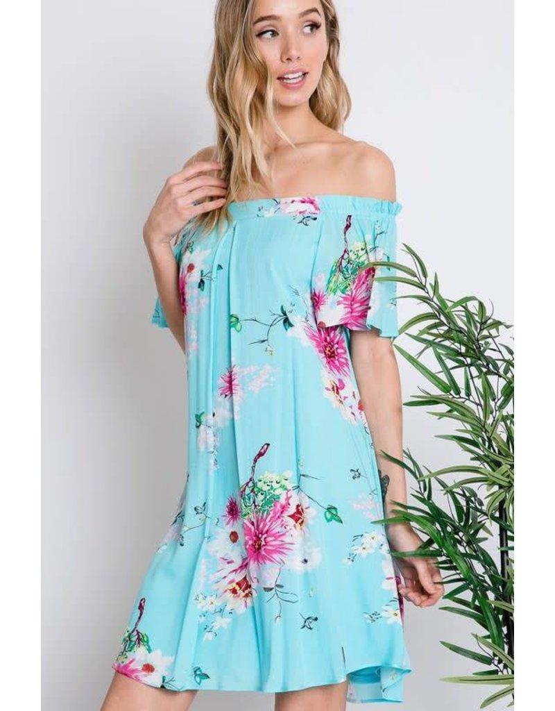 Off Shoulder Floral Shift Dress