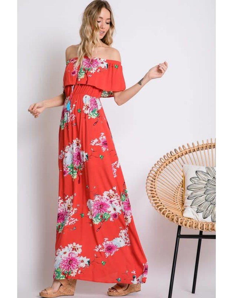 Floral Print Off Shoulder Maxi Dress