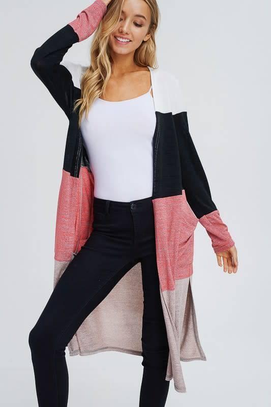 Color Block Side Slits Long Cardigan
