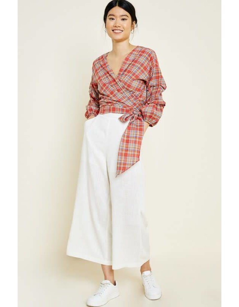 Plaid Ruched Sleeve Wrap Top