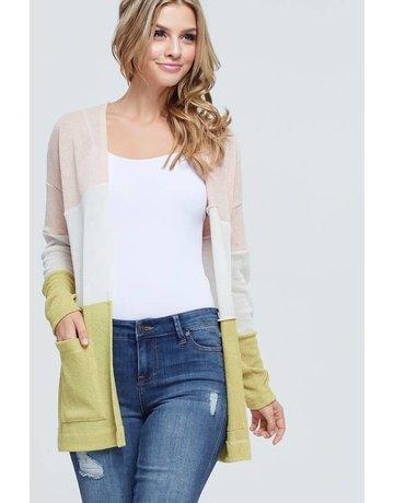 Multi-Color Block Knit Cardigan