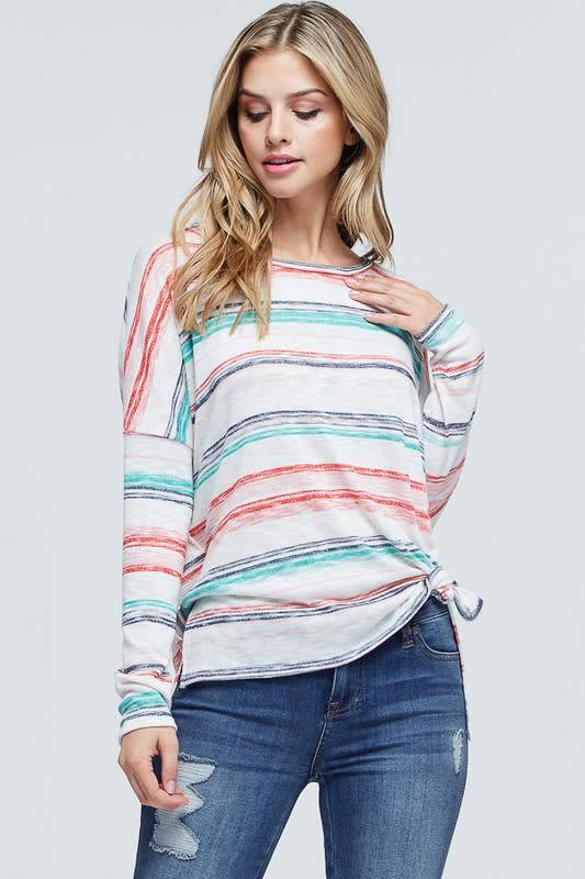 04004c14a9b466 Striped Long Sleeve Knit Top - Boutique 23