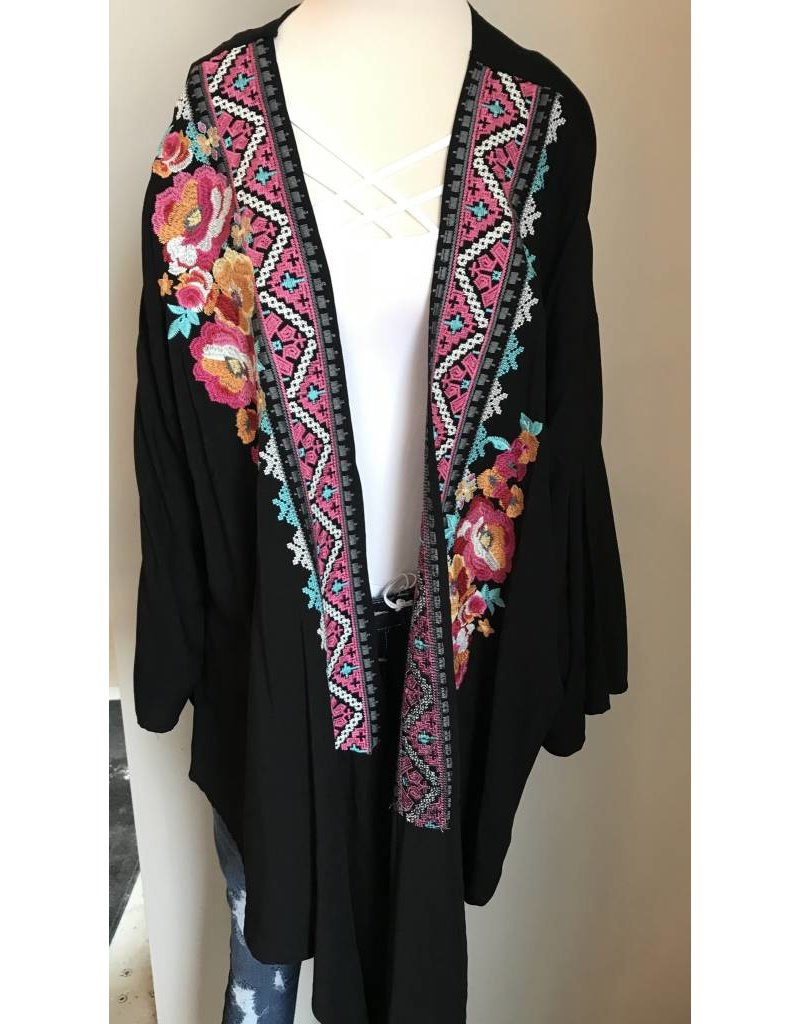Embroidered Tie Cardigan