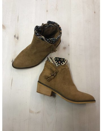 Venture Camel Low Bootie With Aztec Detail