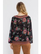 Front Tie Floral Top with Bell Sleeves