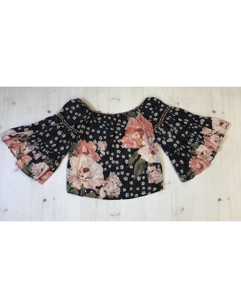 Off the Shoudler Tiered Bell Sleeve Top