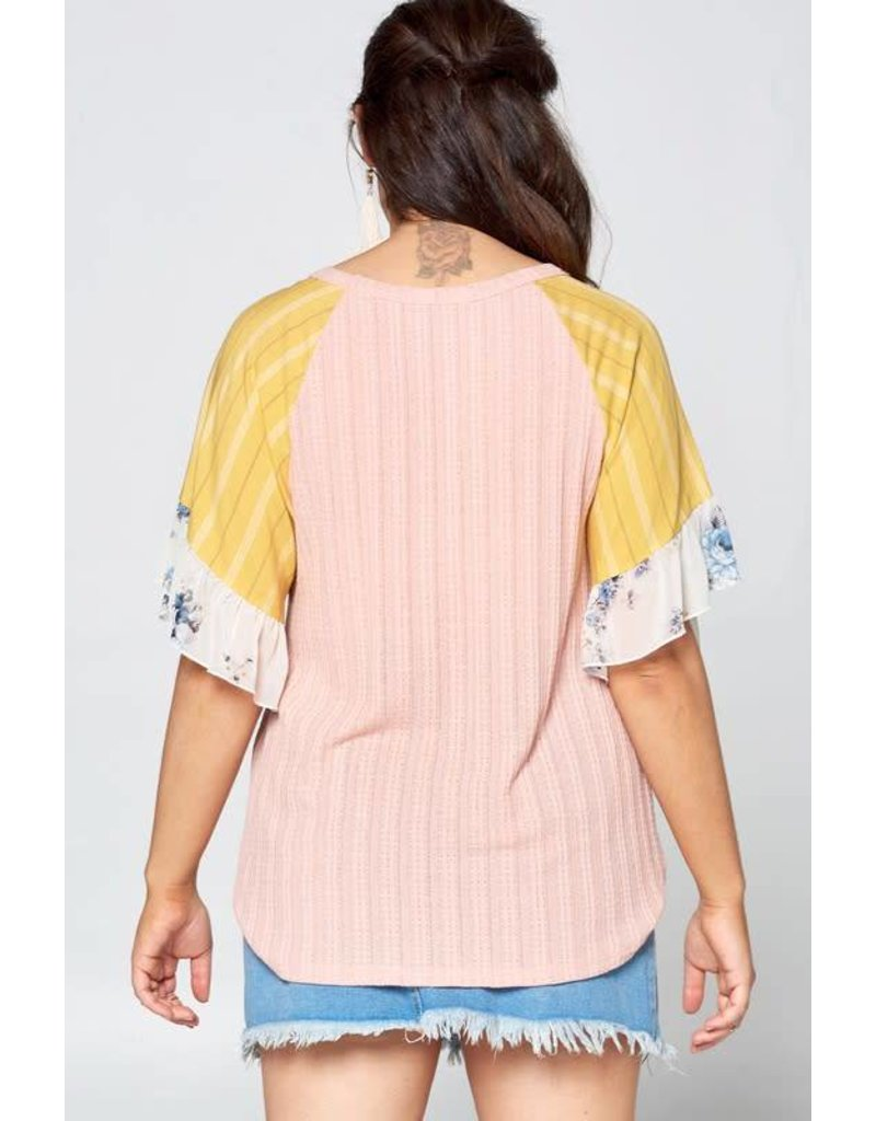 Floral Ruffled Sleeve Cuffs Raglan Knit Top
