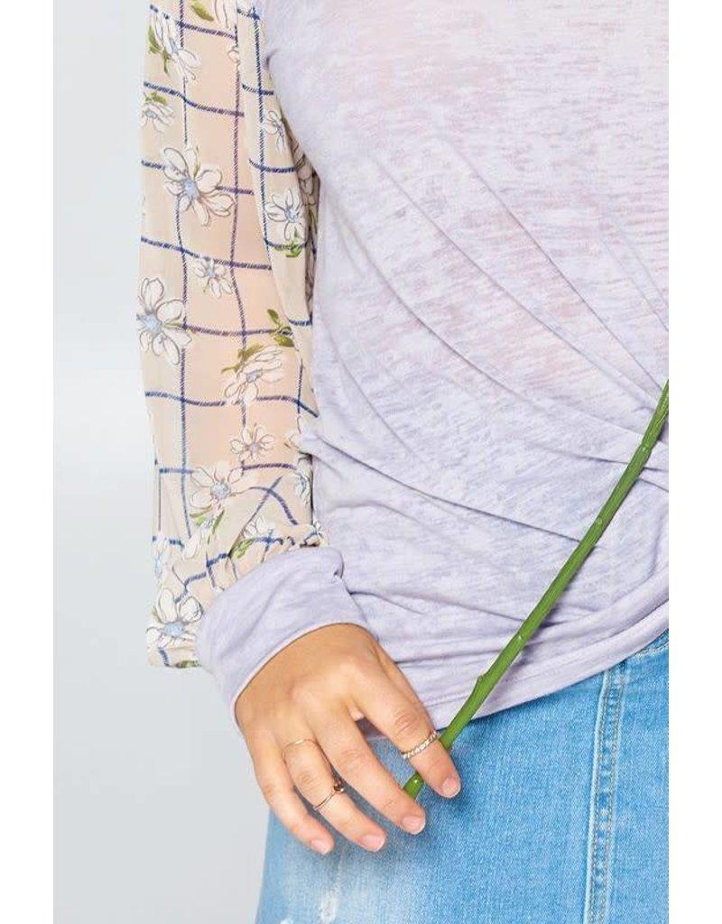 Chiffon Bishop Sleeve Burn-Out Knit Top
