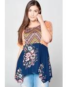 Paisley Contrast Floral Top