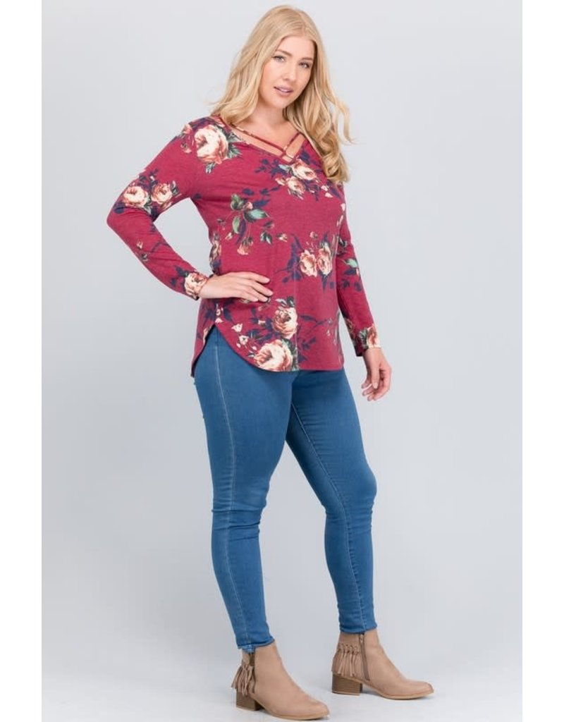 a.gain Curvy Criss Cross L/S Burgandy
