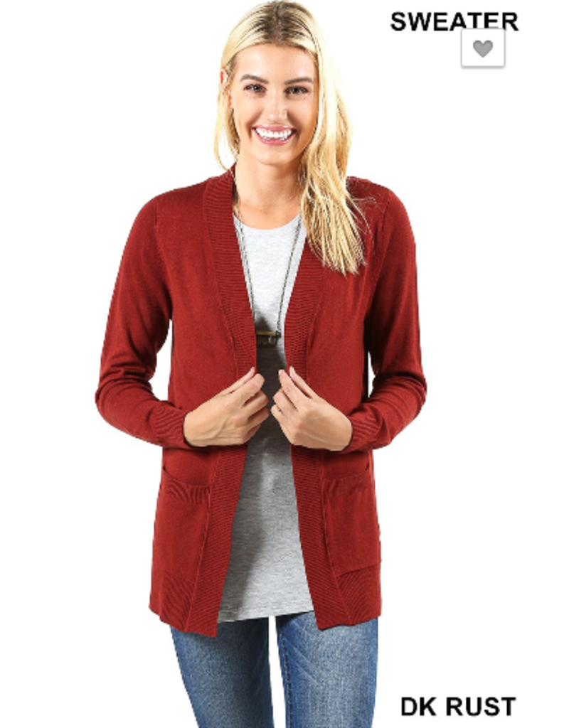 Cardigan w/ Ribbed Edges and Pockets