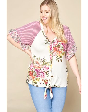 Tie Knot Floral Knit Button-Down Top
