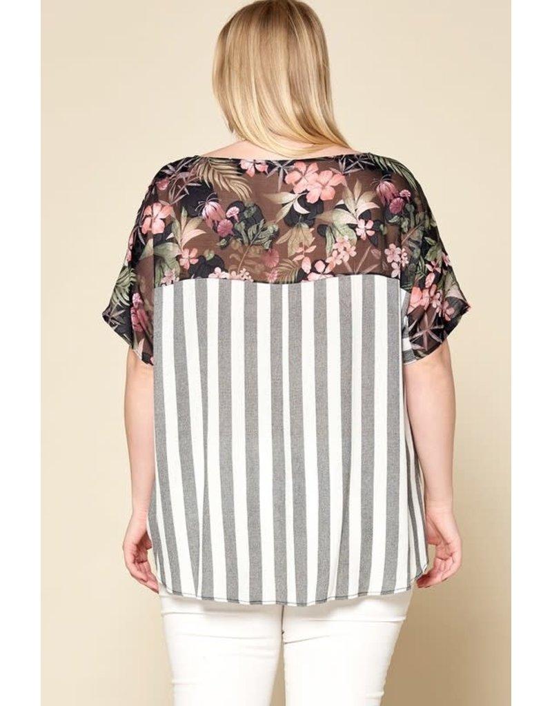 Floral & Striped Print Short Sleeve