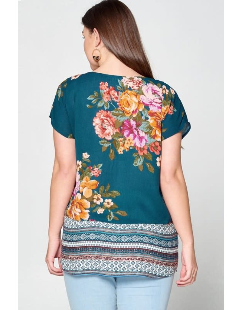 Floral Top w/ Tribal Panels
