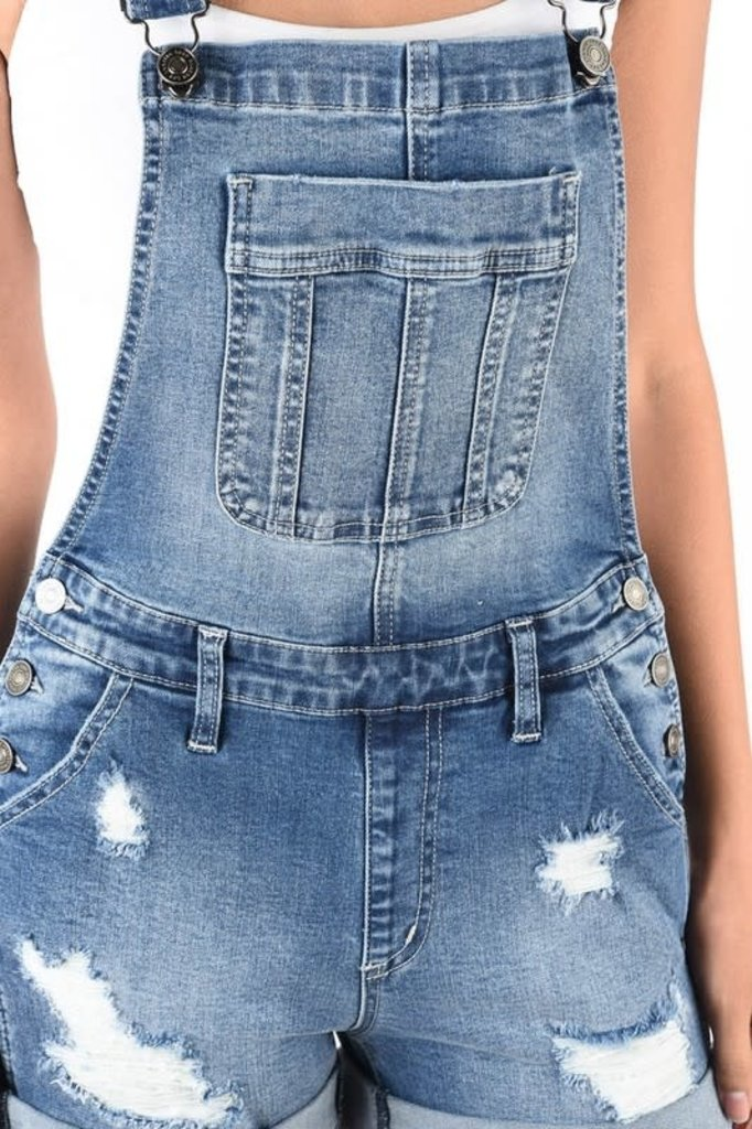 Kancan Cuffed Overall Shorts Boutique 23