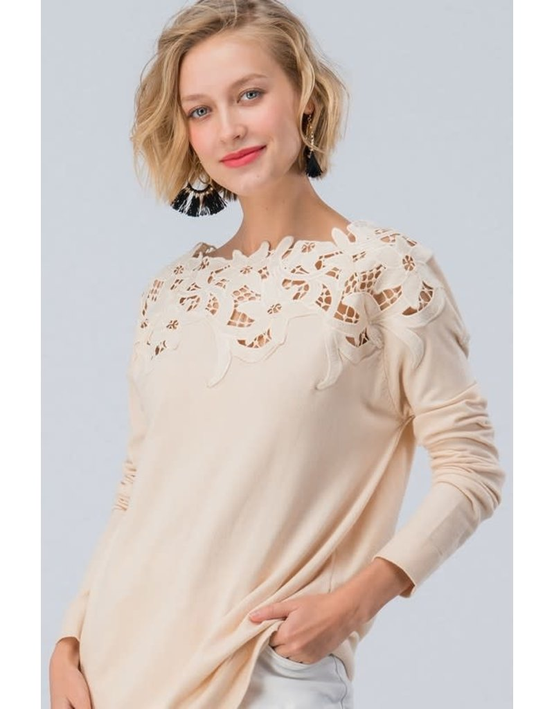 Floral Laced Shoulder LS Top