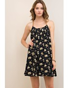 Floral Dress with Suede Trim Detail