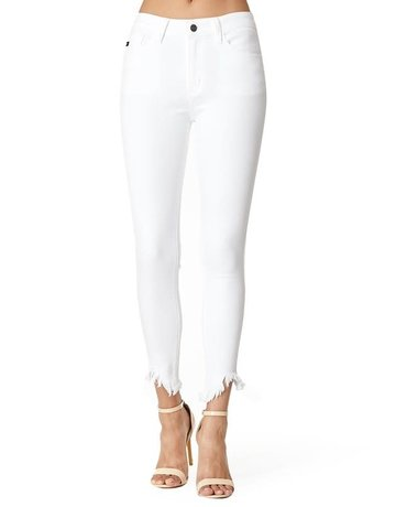 High Rise Skinny Frayed Hem
