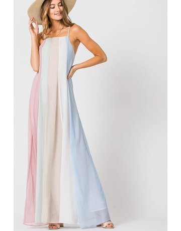 Pastel Rainbow Goddess Maxi Dress