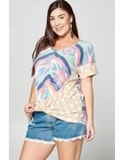 Mixed Print Knit Top w/ Twist