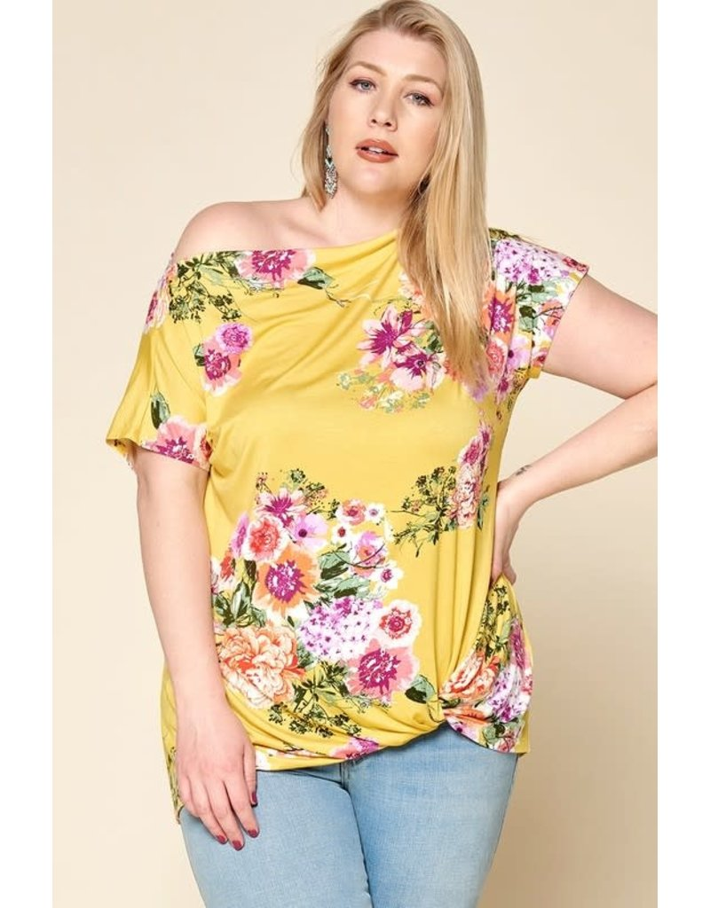 Floral Jersey Knit Twist Front Tee