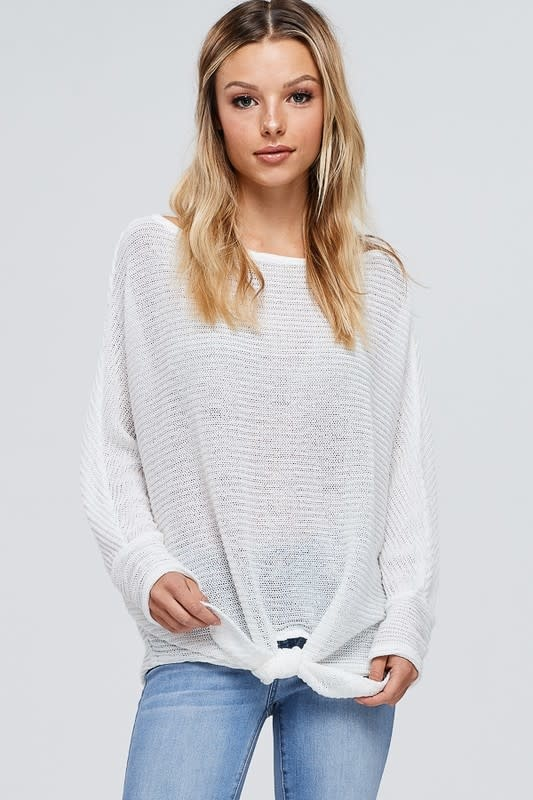 Solid Knit Front Self Tie Knot Top