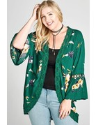 Oddy Open-Front Floral Kimono with Crochet Trim Detail